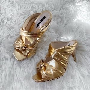 NEW WITH TAG ZARA GOLD MULE HEELS